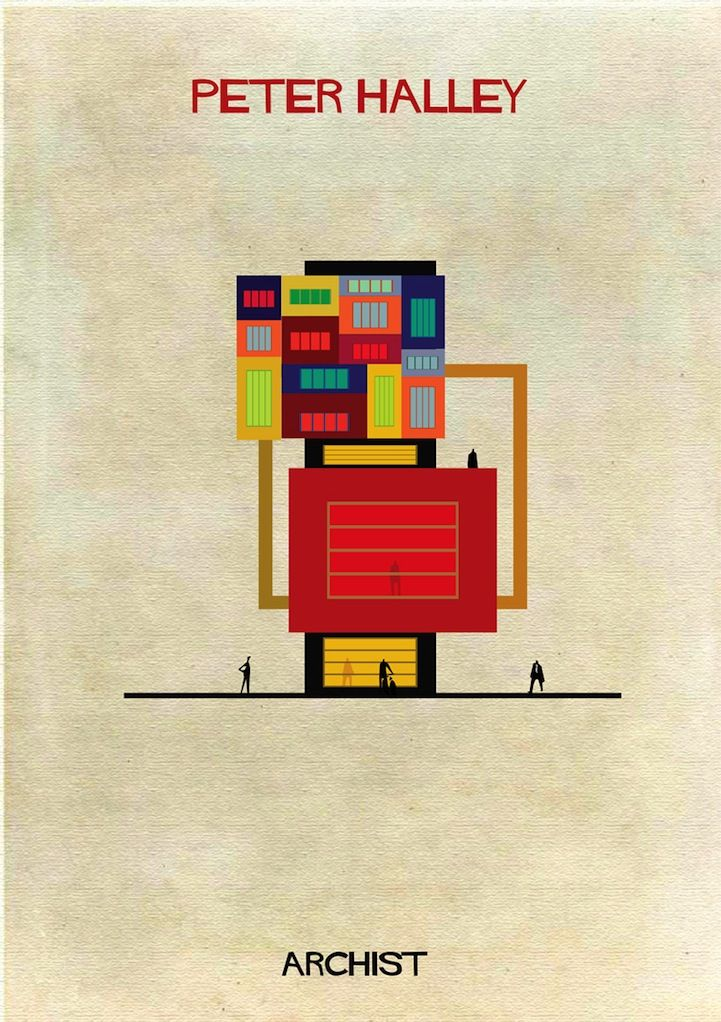 iconic artists styles portrayed as architectural structures