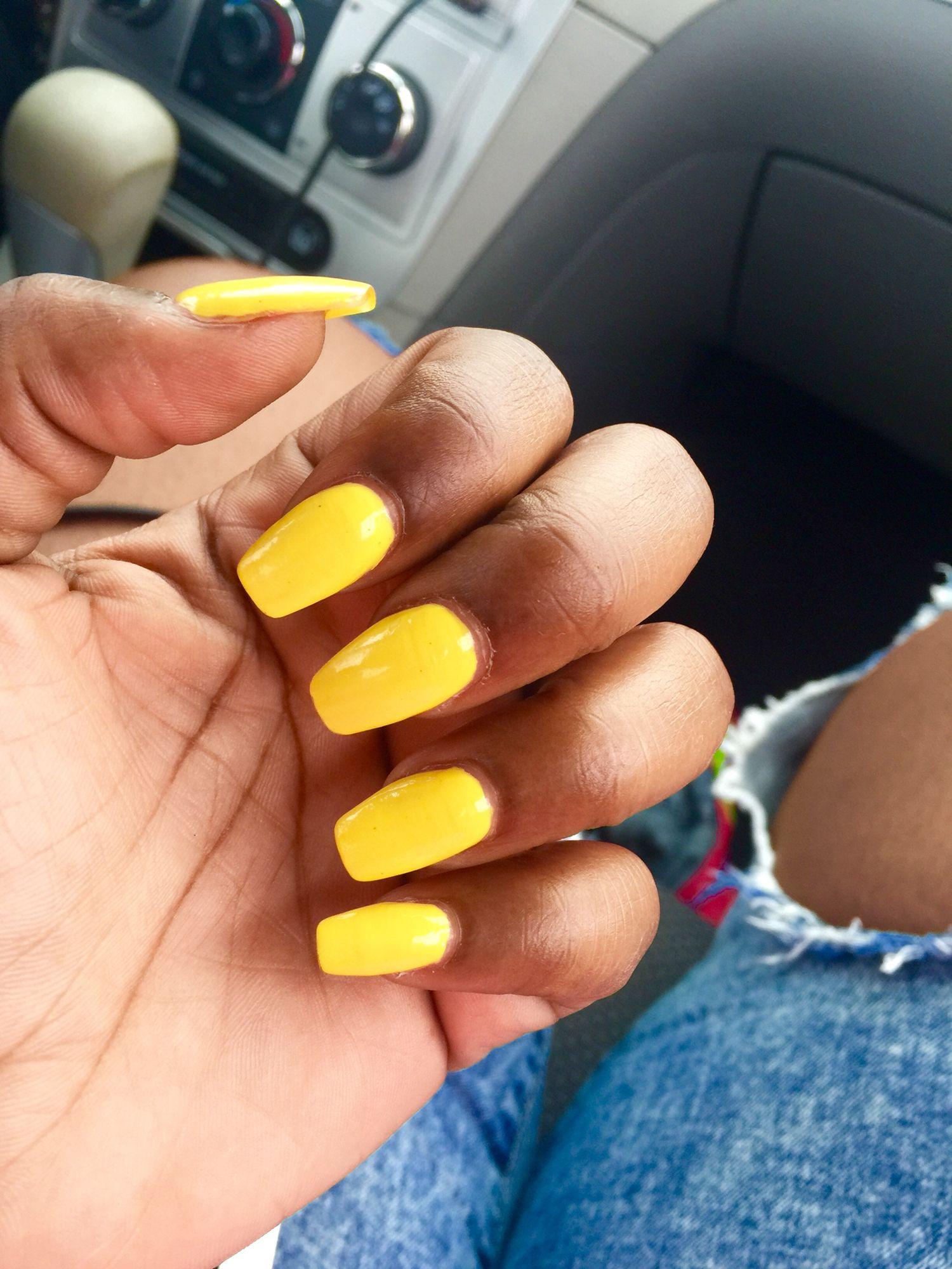 Yellow Nails Coffin Shape Nails Yellow Nails Nails