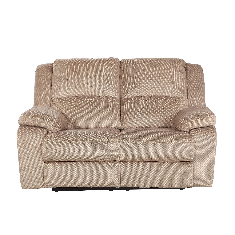 Comfortable Classic Microfiber Living Room Double Recliner Loveseat/Sofa  (Light Brown)