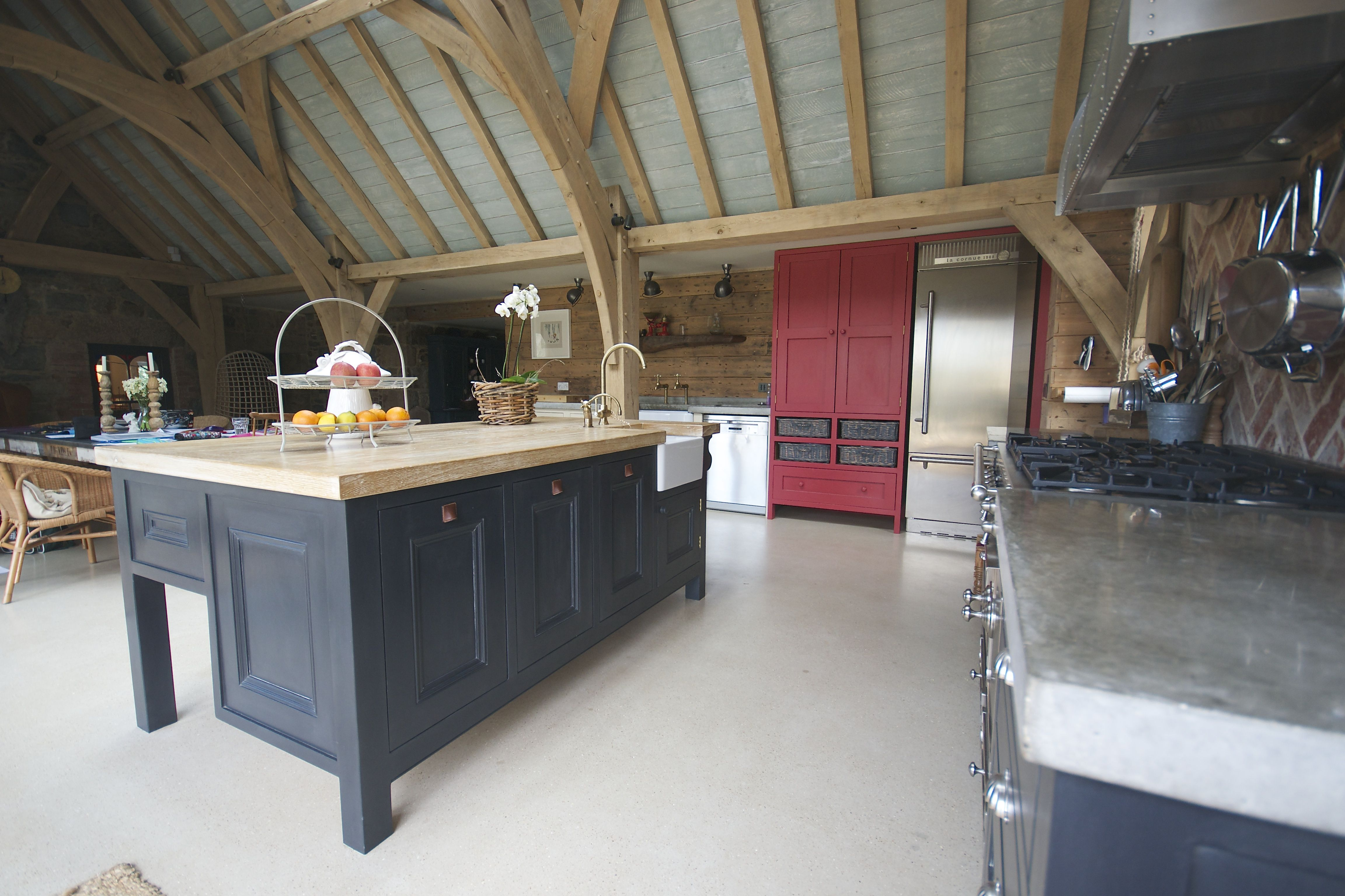 Bespoke Kitchen Island Guernsey Hand Painted Annie Sloane Graphite Waxed Limed