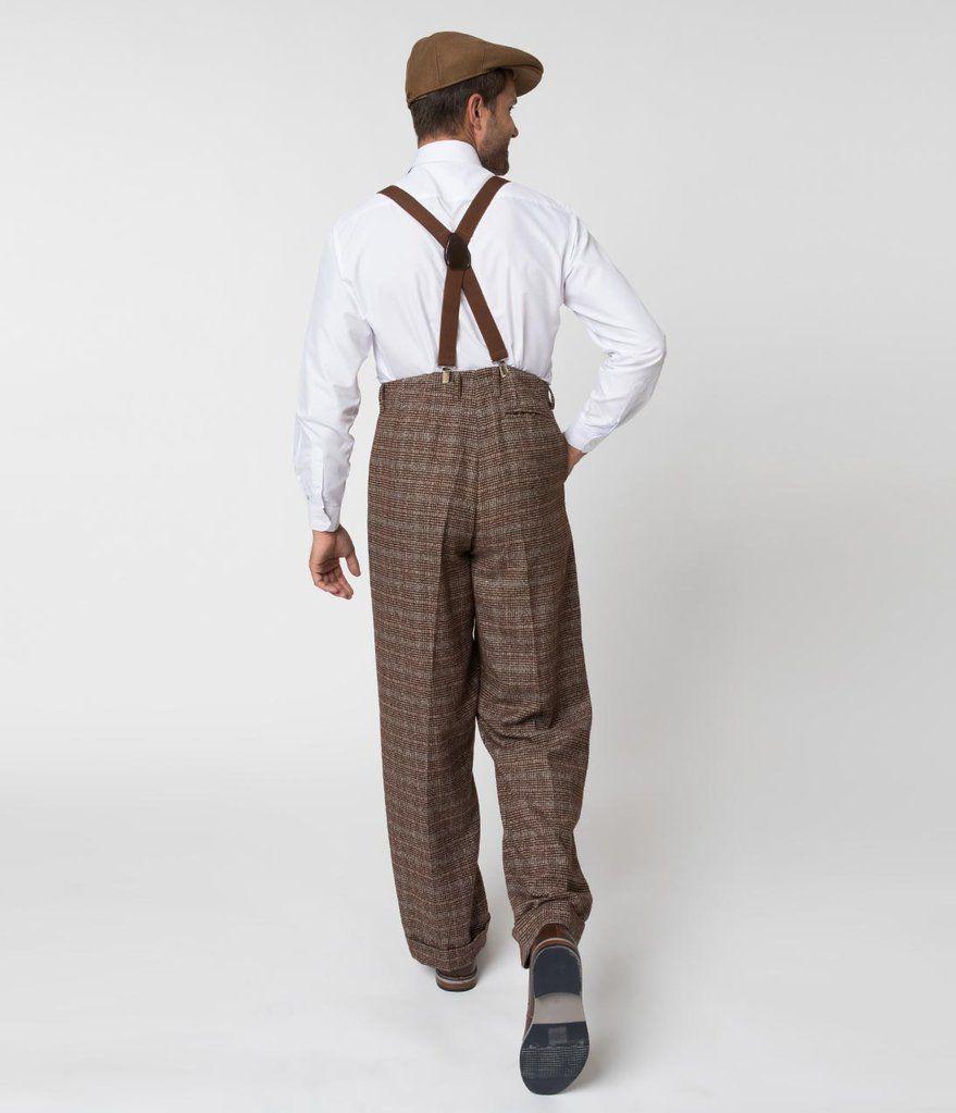 7124bb7cf29 Unique Vintage 1930s Style Brown Checkered Woven Men Pants