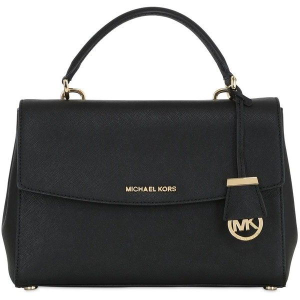 MICHAEL MICHAEL KORS Ava Saffiano Leather Top Handle Bag - Black (€355) ❤ liked on Polyvore featuring bags, handbags, shoulder bags, black, michael michael kors purse, black shoulder handbags, black purse, top handle leather handbags and black handbags