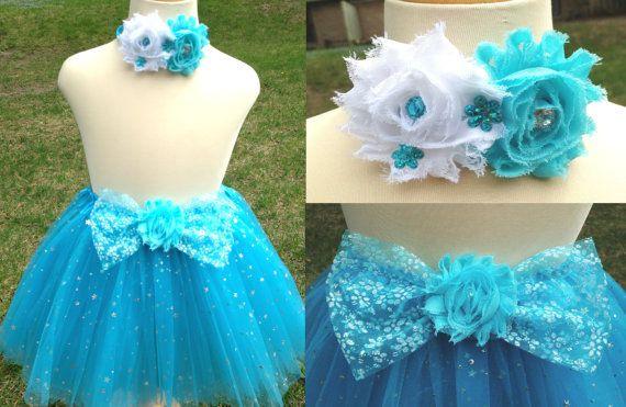 2 pcs set Frozen tutu with headband set snow queen birthday dress