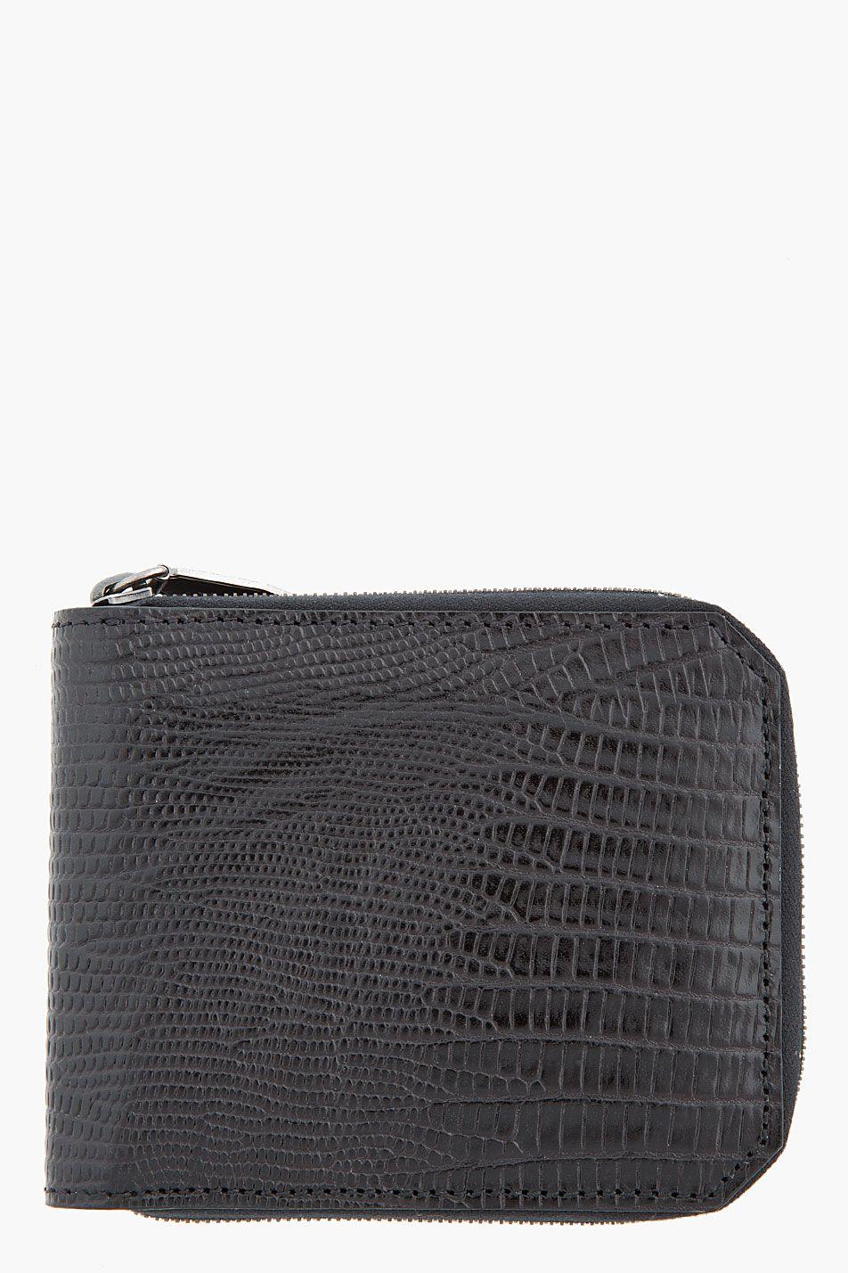 ALEXANDER WANG Black leather Printed Lizard Bi-Fold Wallet