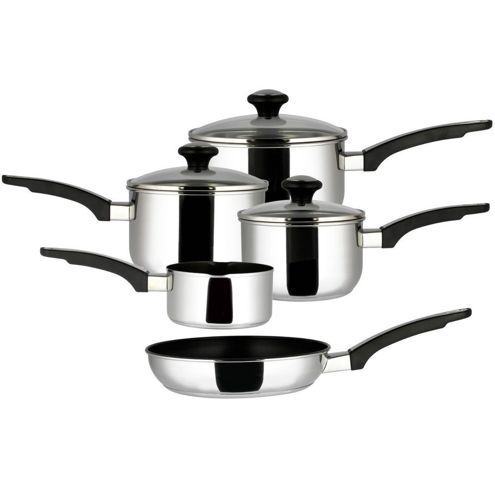 Non Stick Kitchen Appliances 5 Piece Prestige Non Stick Pan Cookware Set Saucepan Stainless