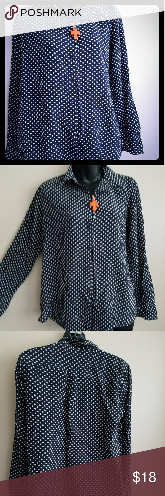 30dc2822ae2dcd Women polka dots blouse Women dark blue polka dots blouse