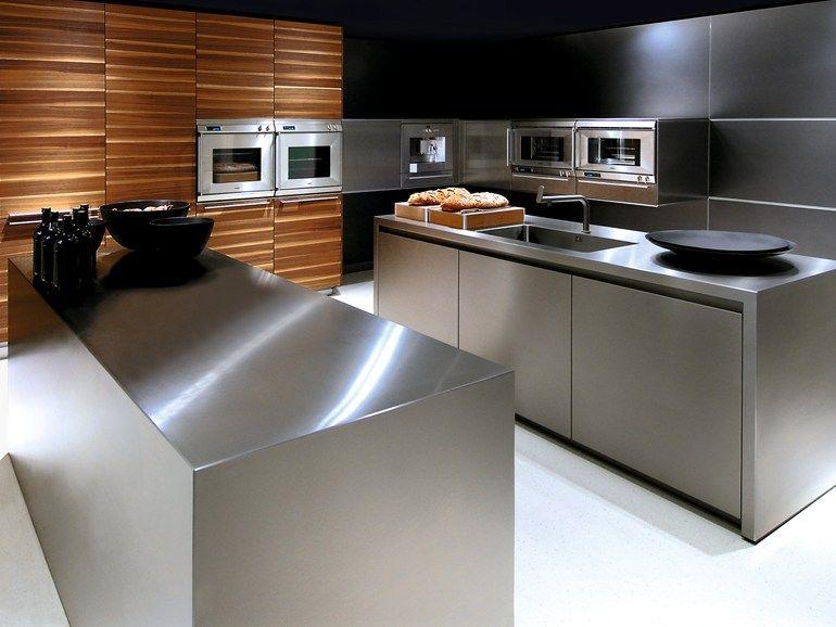Küche aus Edelstahl mit Kücheninsel Kollektion b3 by Bulthaup - Arbeitsplatte Küche Edelstahl