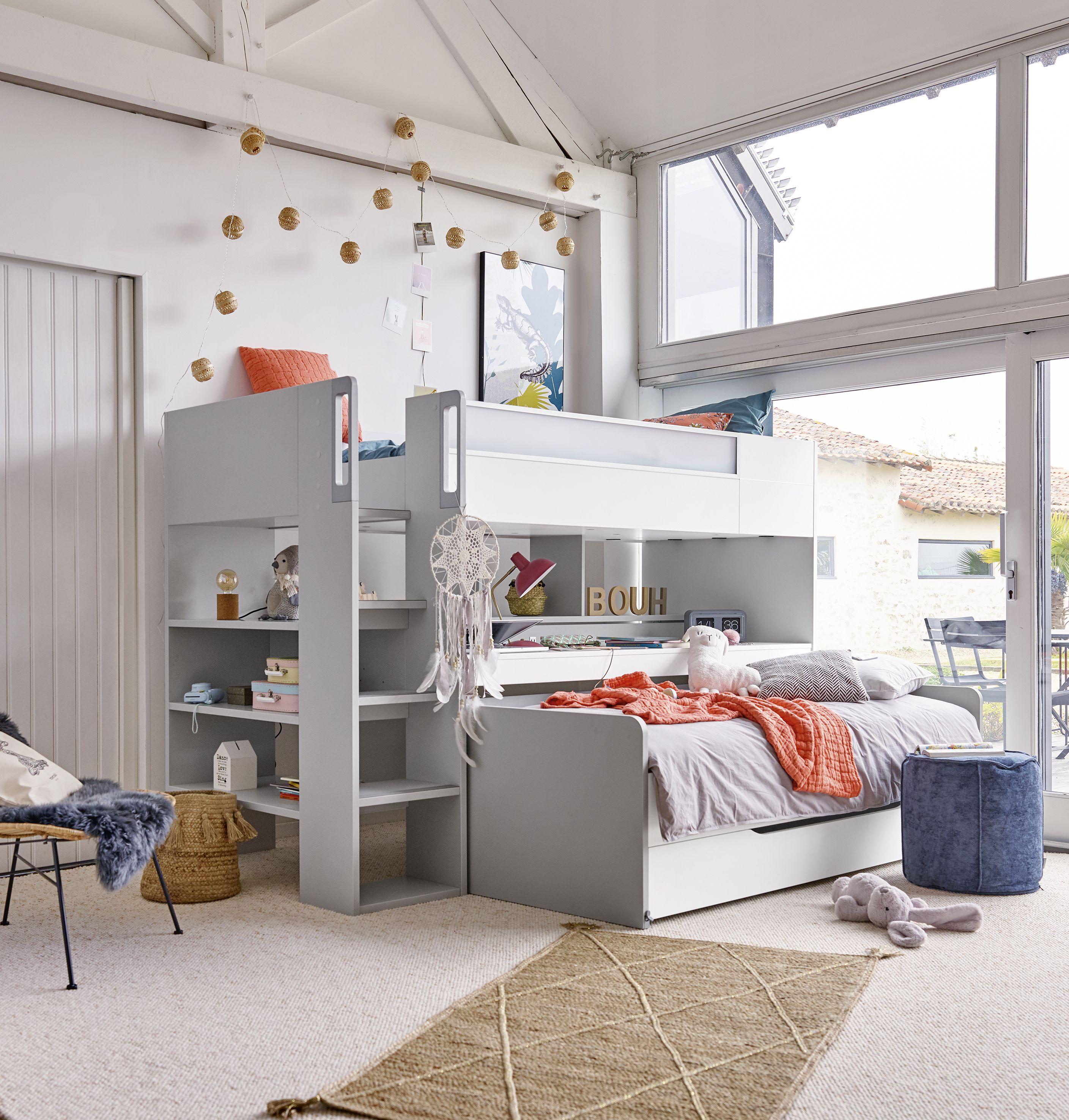 Lit Haut Trio Bureau Et Lit Coulissant En 2020 Lit Haut Decoration Maison Idees De Lit