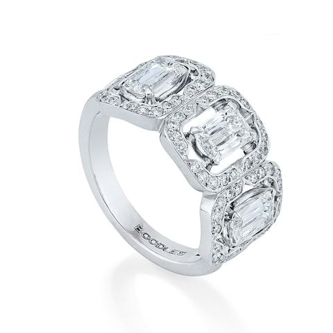 3a05a199d Boodles Mosaic three-stone Ashoka diamond ring in platinum with diamonds