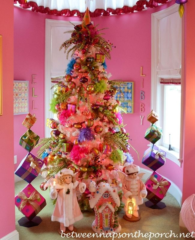 Tour a beautiful victorian home decorated for christmas part vi pink girls bedroom with pottery barn beds and shades of light chandelier and sconces 03 aloadofball Gallery
