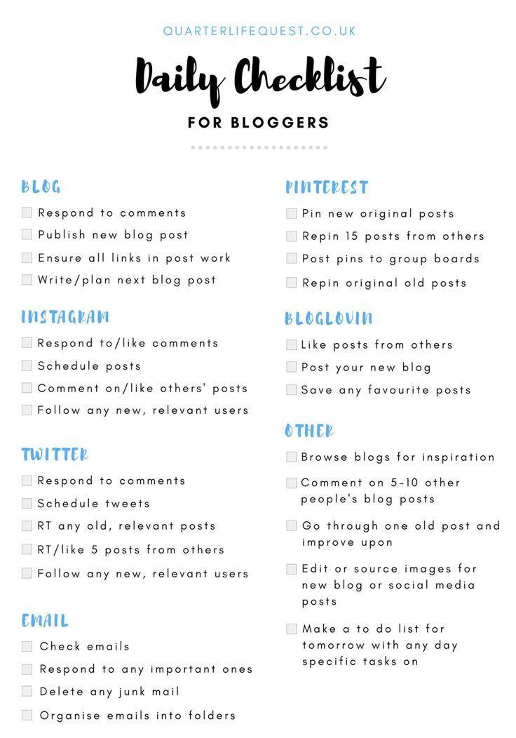 FREE Daily Blogging Checklist 2018 Daily checklist, How