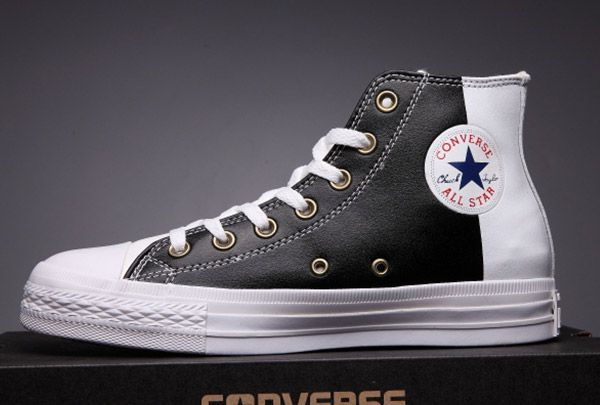 8f93480035f3ce  converse Converse Two Tone Black Leather Tri Panel Chuck Taylor All Star  High Tops Sneakers