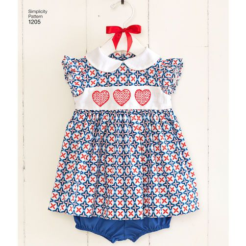 Simplicity Pattern 1205 Babies Dress And Panties Babies