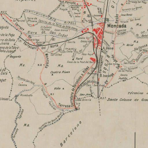 Mapa Planimètric De Montcada I Reixac Catalunya Minutes Municipals 1 25 000 1914 1936 Fotos Torres