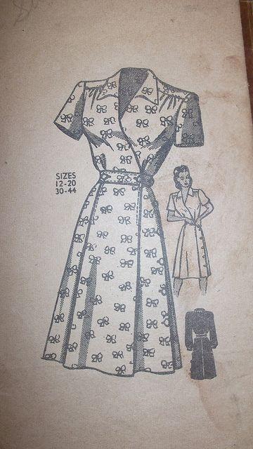 Great 1940s Wrap Dress Pattern Wrap Dress Pattern Shirt Dress Pattern Vintage Dress Patterns