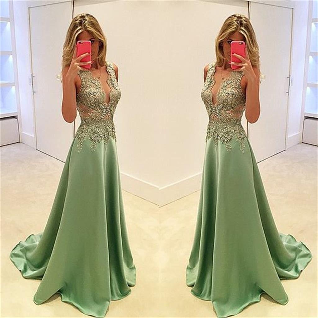 Deep vneck prom dresses stunning prom dresses aline prom dresses