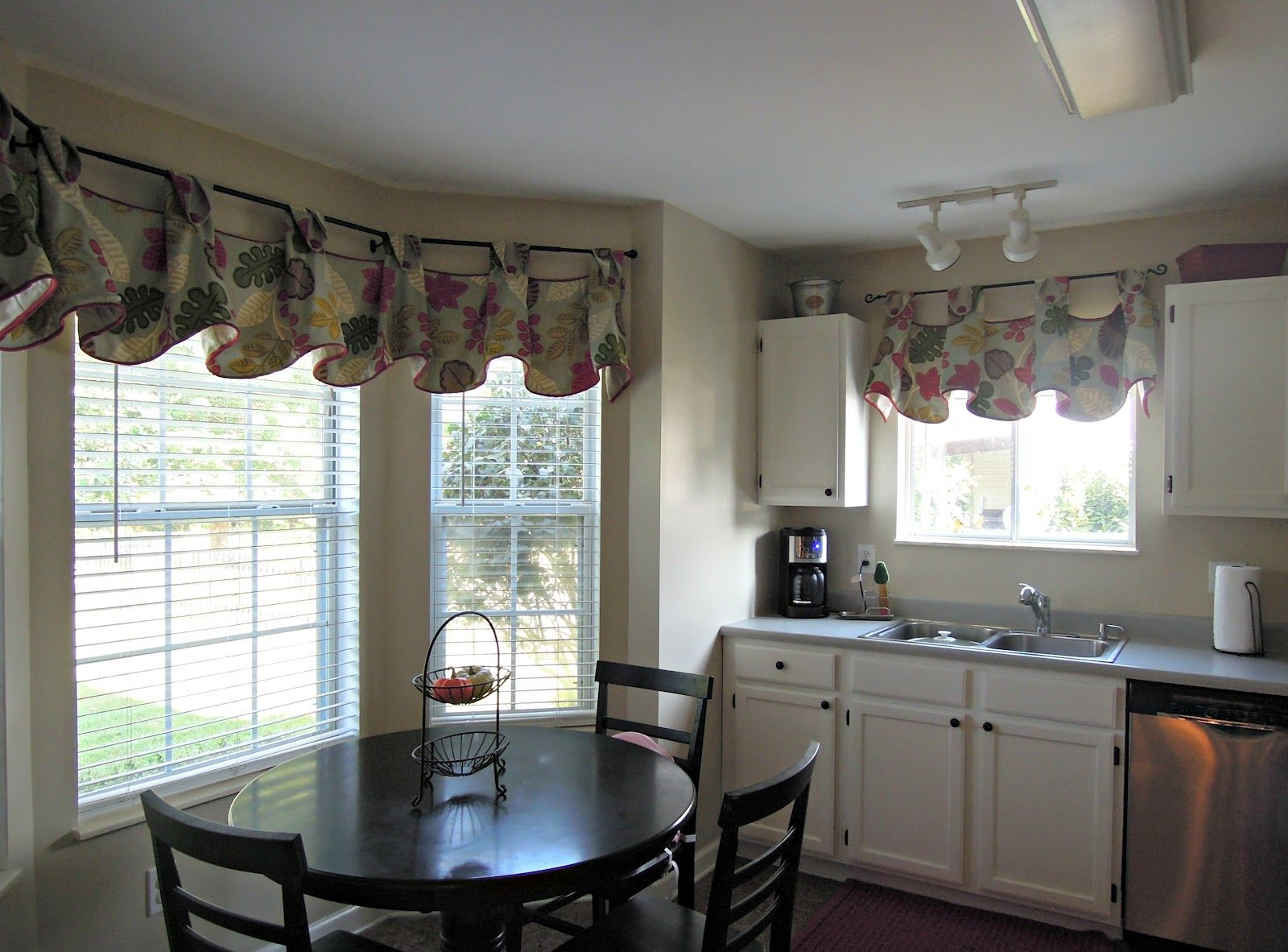 Dining Room Valance Ideas Part - 45: Home Design, Retro Small Kitchen Dinner With Black Table Sets And Catchy  Bay Window Treatment Valance: Creative Bay Window Treatment To Add Stunning  ...