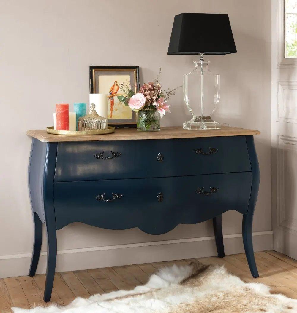 Table De Chevet Miroir Pas Cher commode 2 tiroirs haute couture bleu nuit - commode maisons