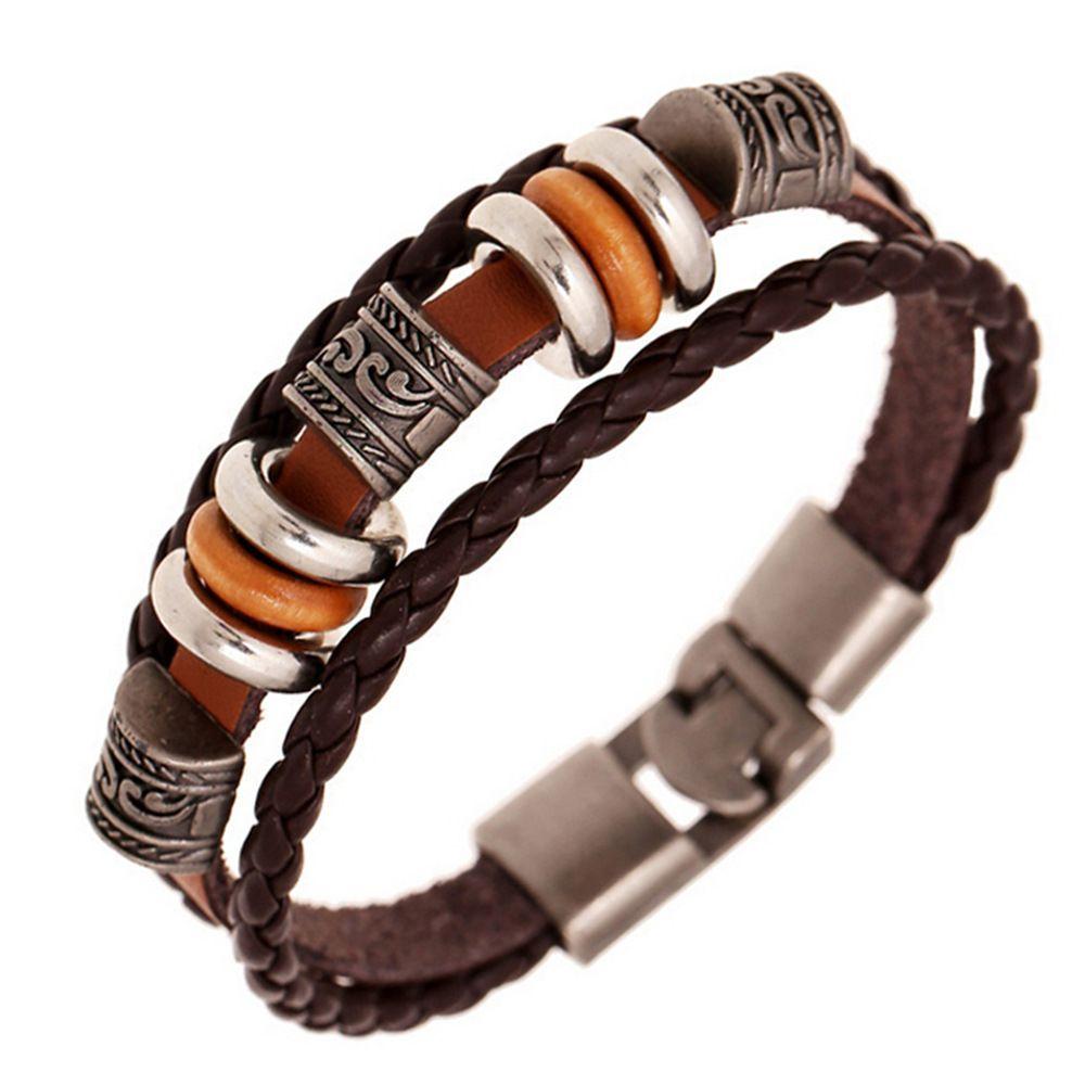 Handmade retro pu leather woven charm bracelet men women vintage