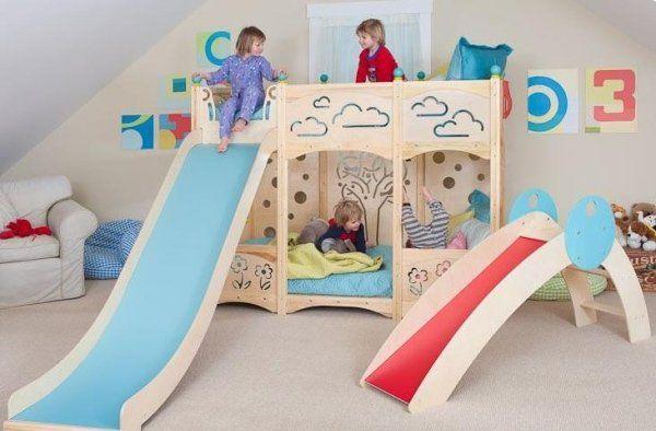 Chambre Pour Enfant Avec Un Lit Mezzanine Et Toboggan Jeux Enfants