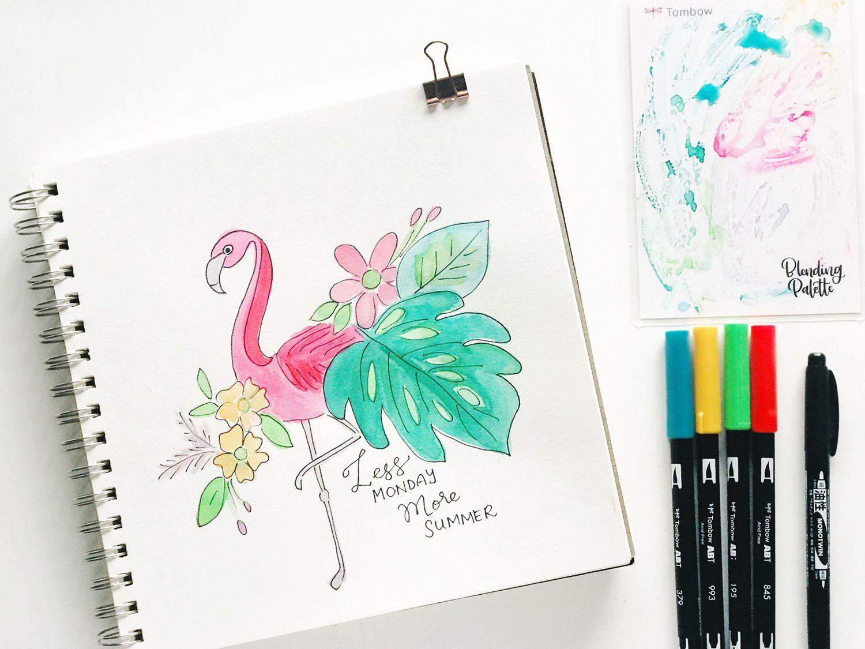 Summer Watercolor Quote Sketch Tutorial Zeichnen Und Tagebuch Ideen