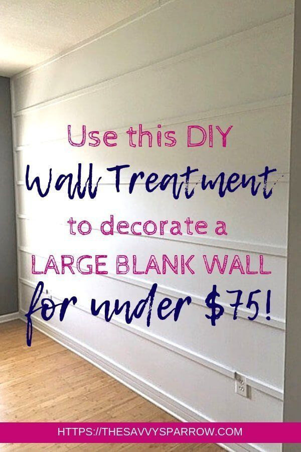 Want an easy DIY wall treatment idea to decorate a large blank wall on a budget?