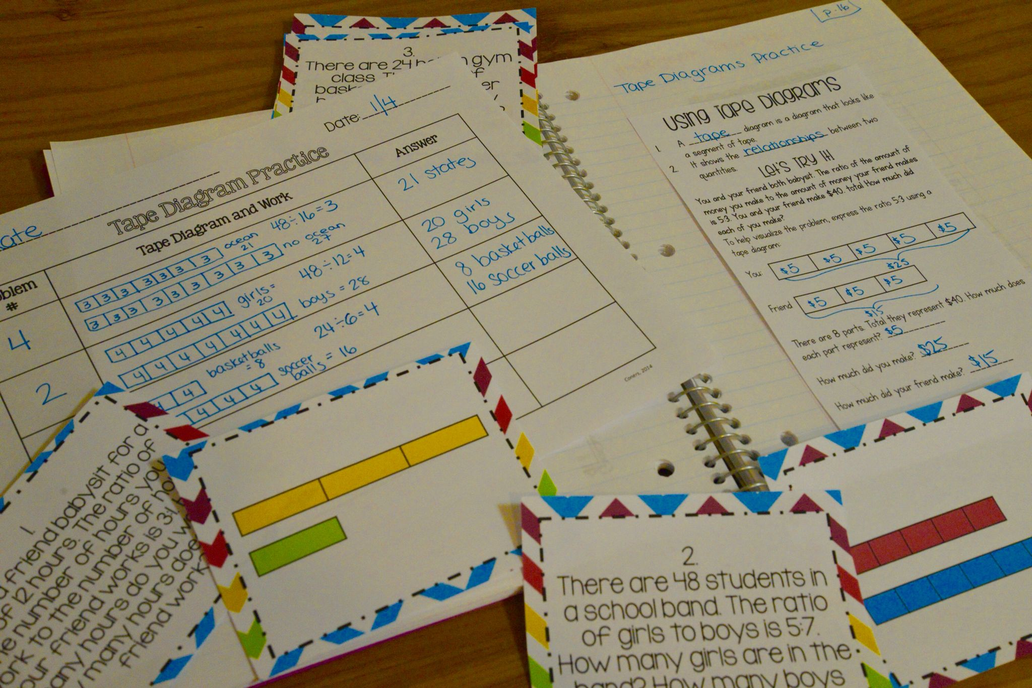 solving ratio problems with tape diagrams interactive notebook and matching task cards [ 2048 x 1366 Pixel ]