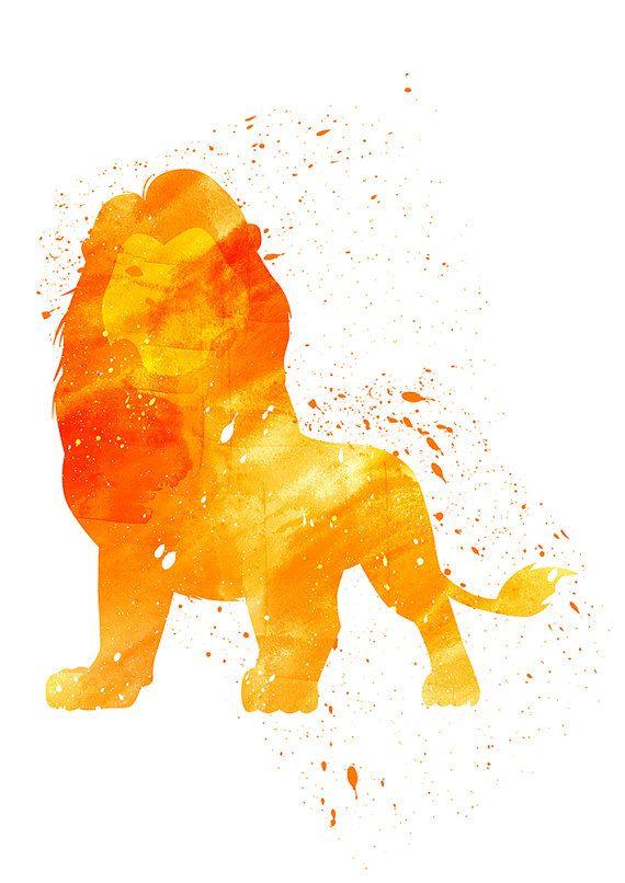 Lion King, Mufasa Disney Alternative print, Watercolor alternative ...