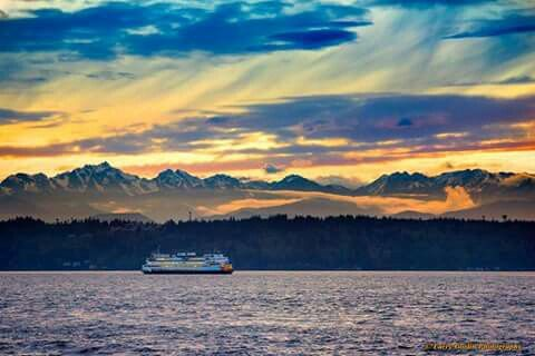 Sunset on the  sound to Edmonds washingtion