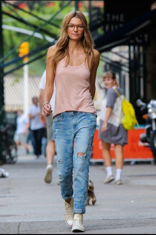 a436e830998 Boyfriend jeans  white converse shoes  singlet top  summer fashion ...