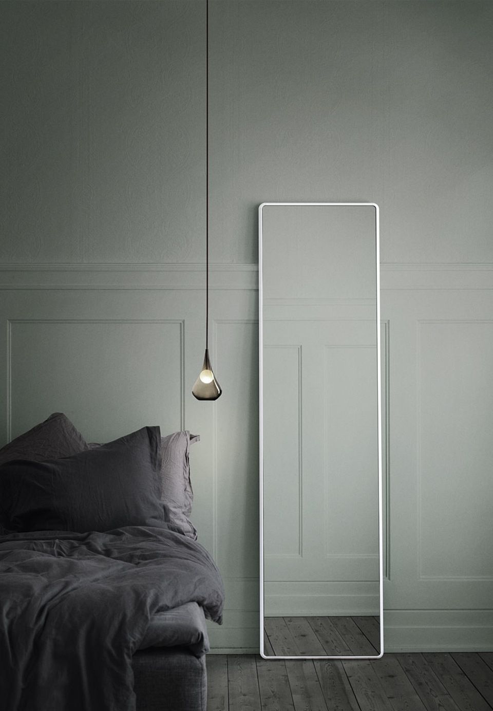 Tall floor mirror with a white frame designed by Vipp.   Mirrors ...