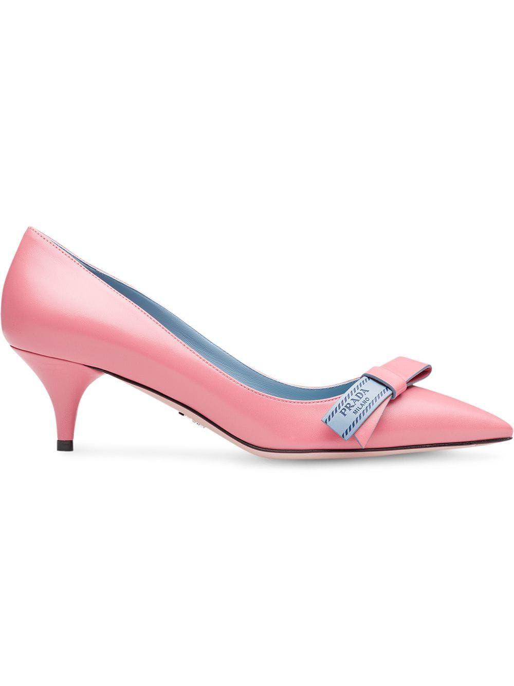 Prada Kitten Heel Bow Pumps Pink Heels Kitten Heels Bow Heels
