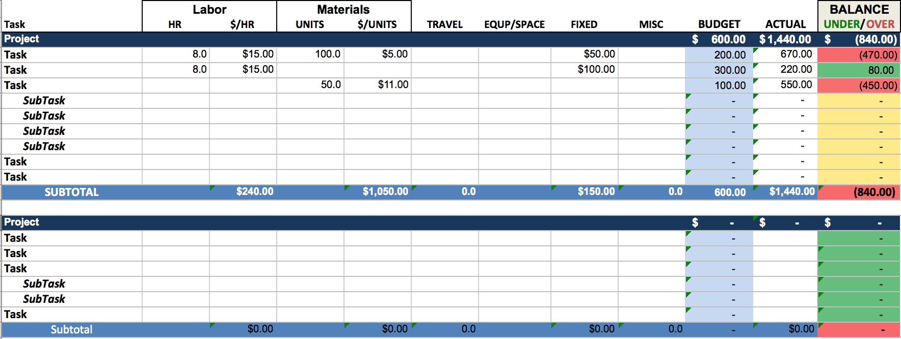 excel template budget
