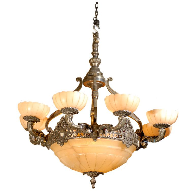 Silver over bronze and alabaster chandelier | From a unique collection of antique and modern chandeliers and pendants at https://www.1stdibs.com/furniture/lighting/chandeliers-pendant-lights/