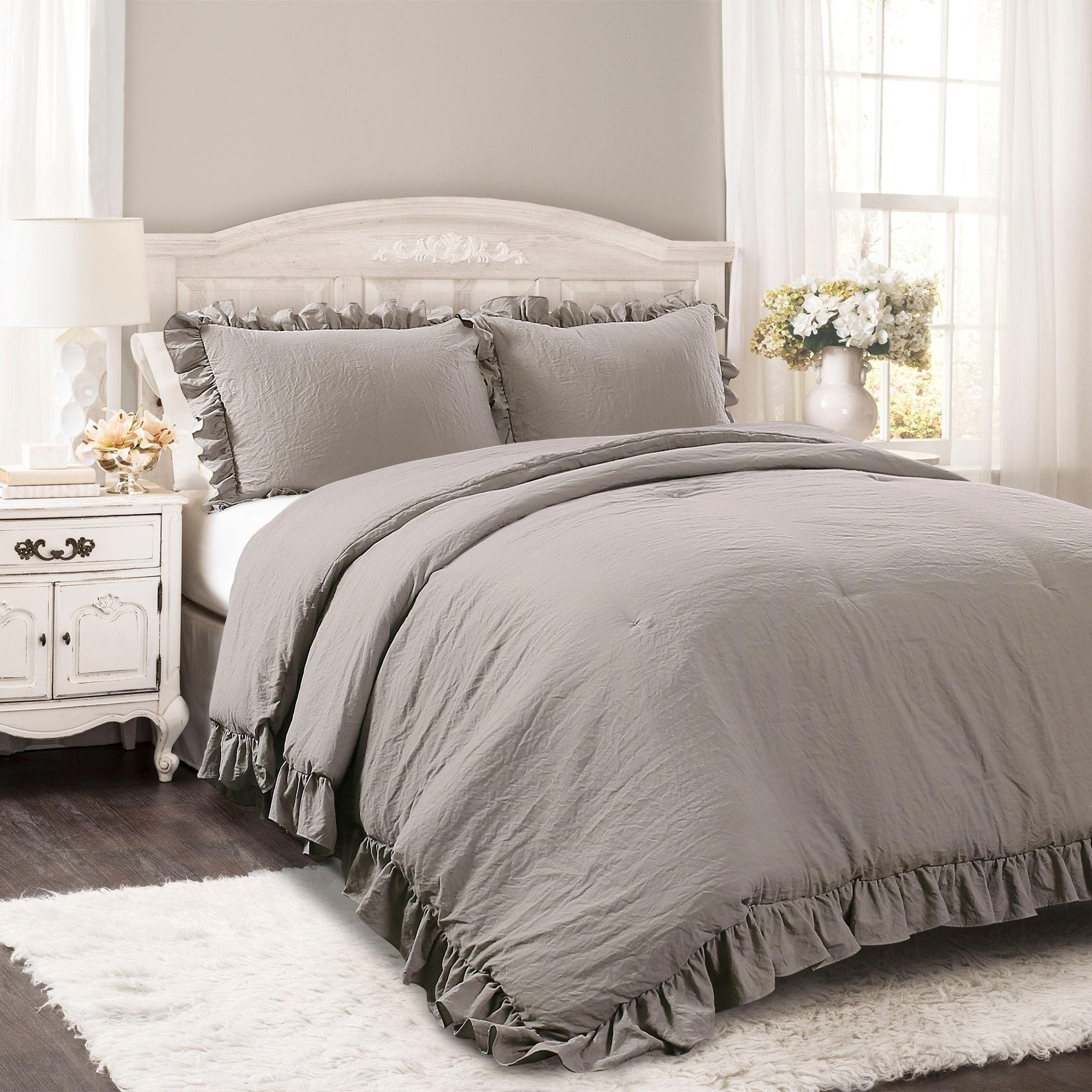 Lush Decor Reyna 3 Piece Comforter Set Comforter Sets Grey