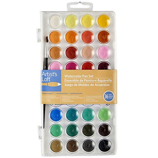 Artists Loft Fundamentals Watercolor Pan Set 36 Colors With