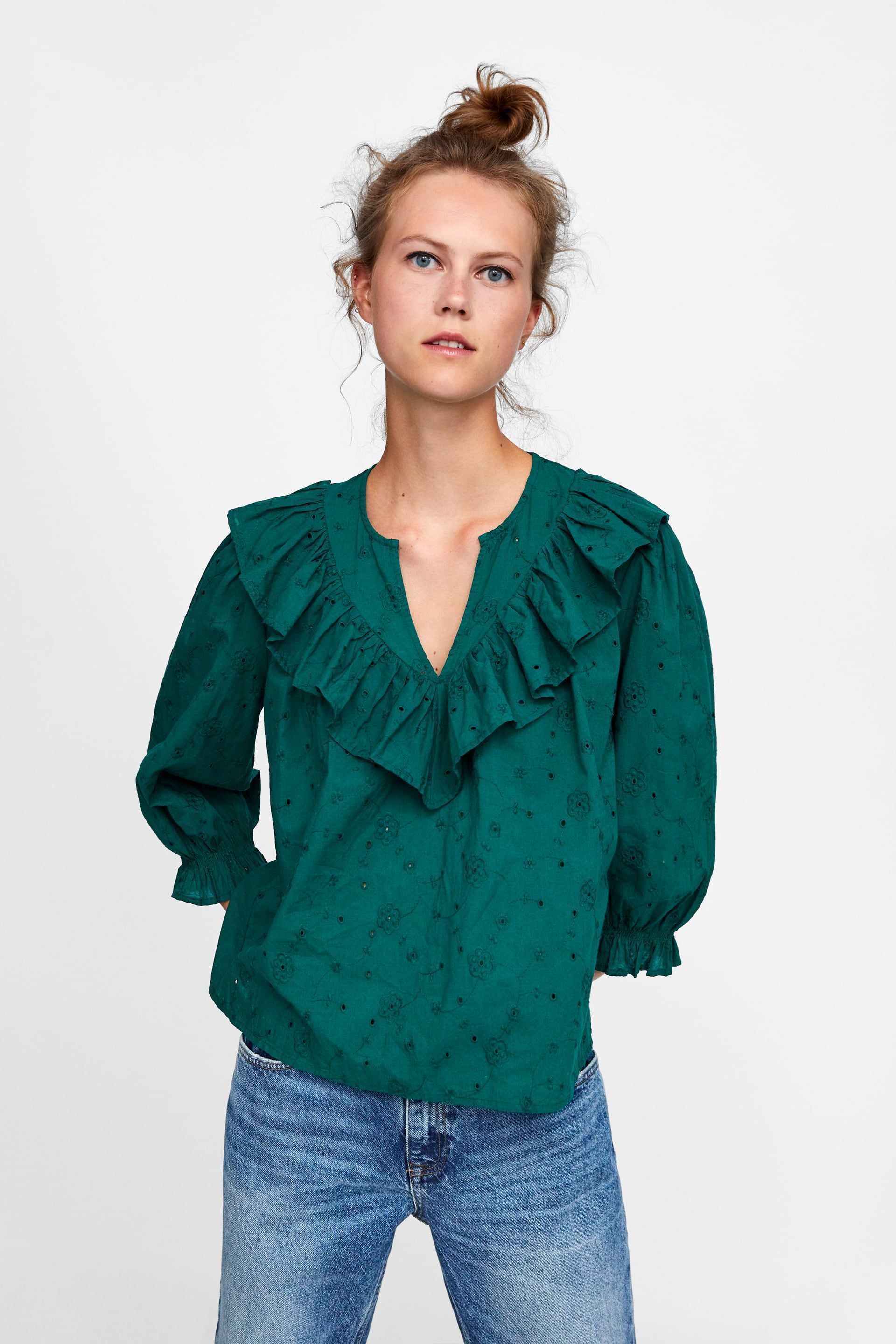 e28337c7e85c1 Image 5 of RUFFLED OPENWORK EMBROIDERY TOP from Zara