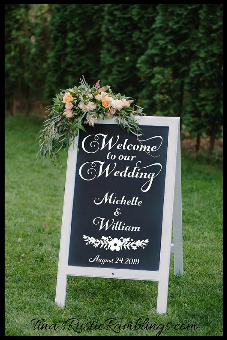 Diy elegant wedding decorations  Wedding Decal Wedding Vinyl Decorations Easel Decal DIY Sign Vinyl