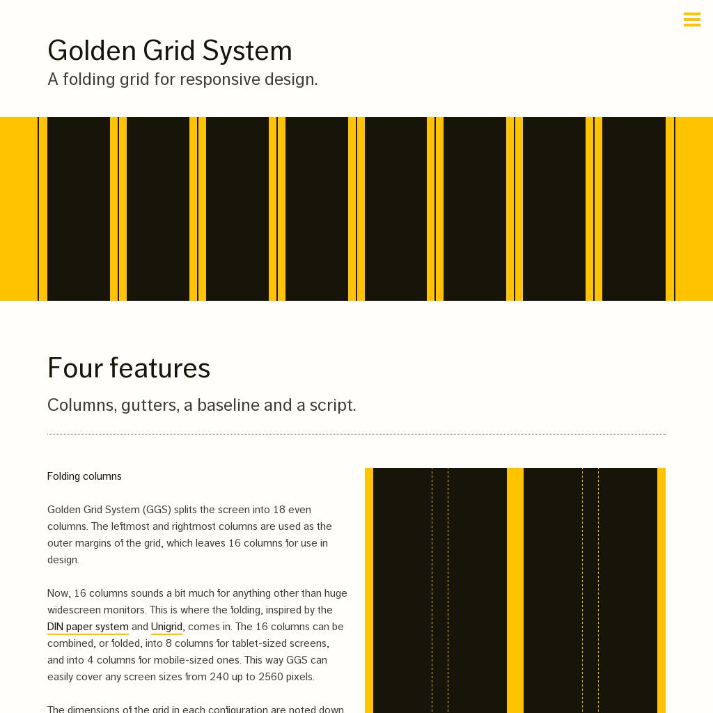Golden Grid System  Folding Grid for Responsive Design