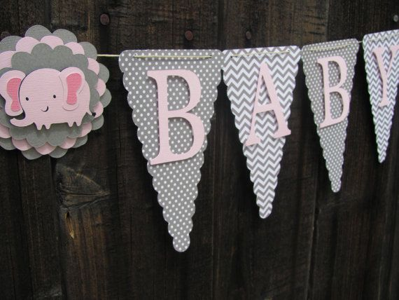 Pink and Grey Baby Shower Banner Baby by twogirlspaperdesign, $26.00