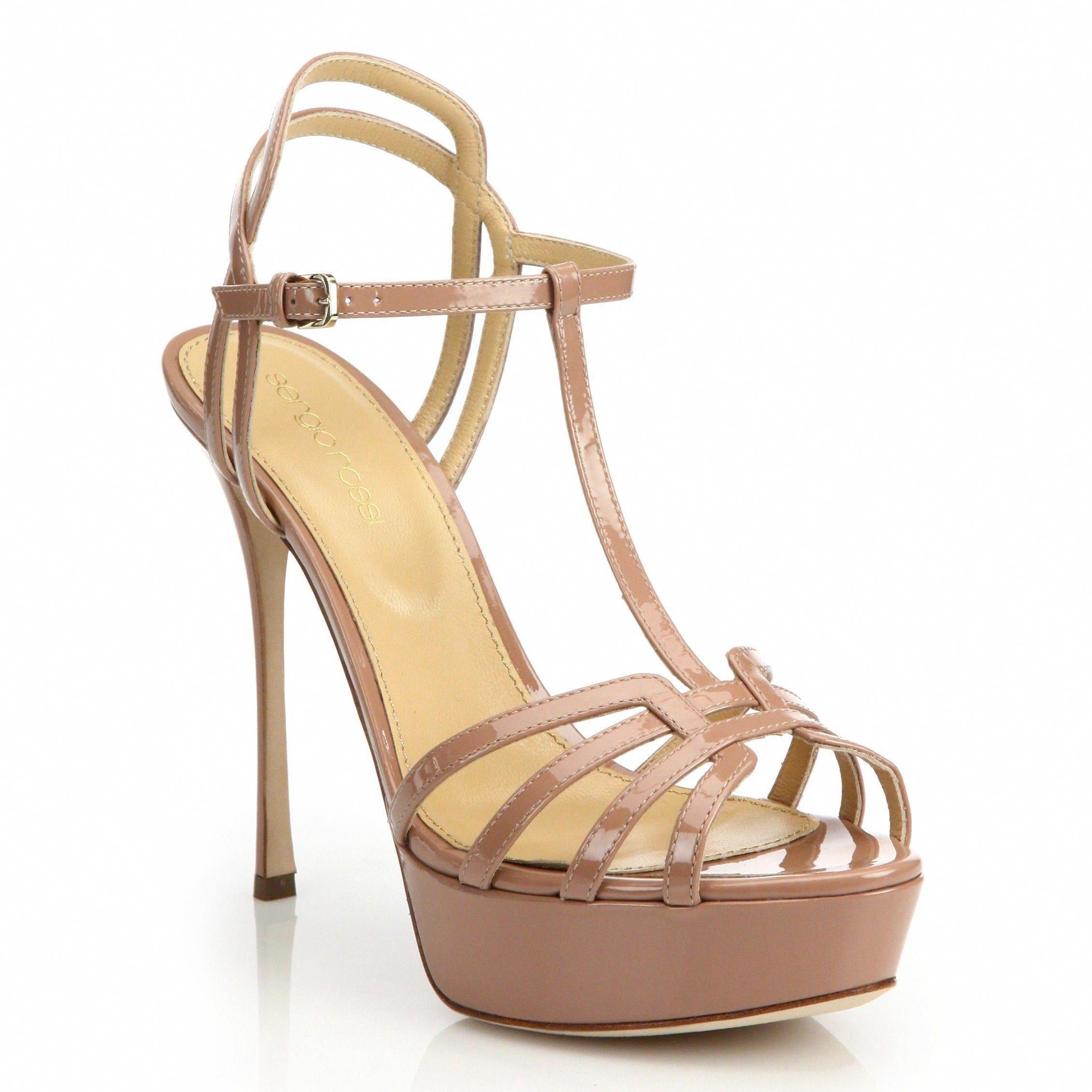 972bce00dd2 SERGIO ROSSI Ines Patent T-Strap Platform Sandals.  sergiorossi  shoes