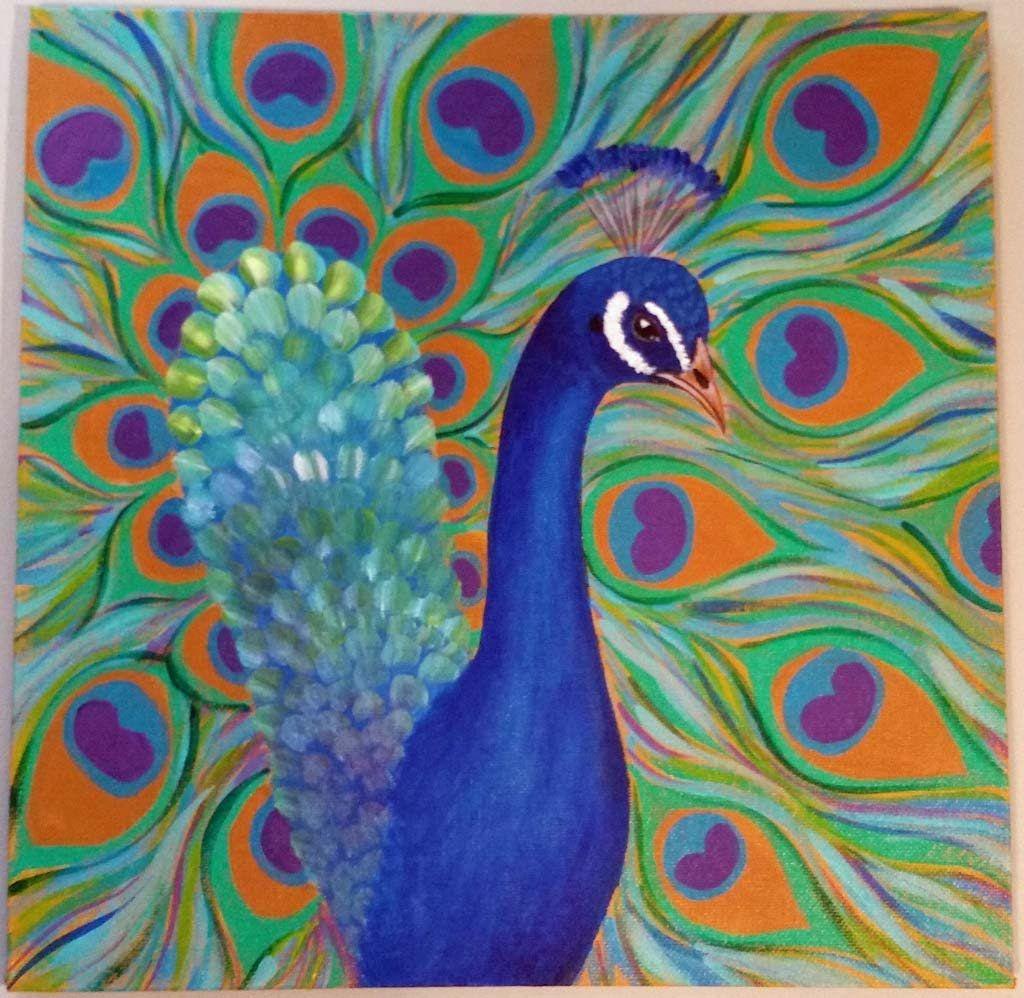 Peacock acrylic paintings - photo#44