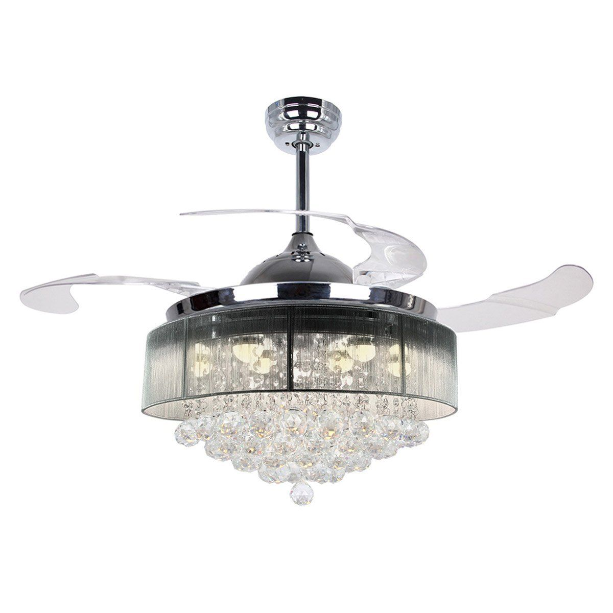 Ceiling Fans With Lights 42 Modern Led Ceiling Fan Retractable Blades Crystal Chandelier Fan With Remote Control 2700k Warm White Not Dimmable Chrome Finish Chandelier Fan Ceiling Fan With Light Ceiling