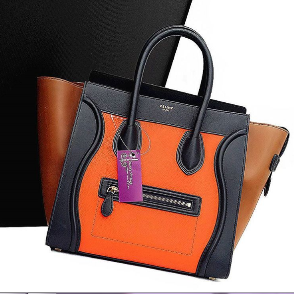 Celine Tricolor Mini Luggage Orange Navy Blue Brown Leather W Gold Hardware Condition Good With Dust Bag L31 H32 W19 Cm Celine Mini Luggage Celine Bag Bags