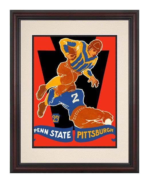 1928 Pittsburgh Panthers vs Penn State Nittany Lions 8 1/2 x 11 Framed Historic Football Poster