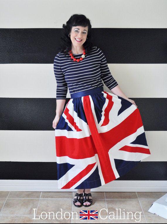 Union Jack skirt British Flag Skirt custom made by SandeeRoyalty ...