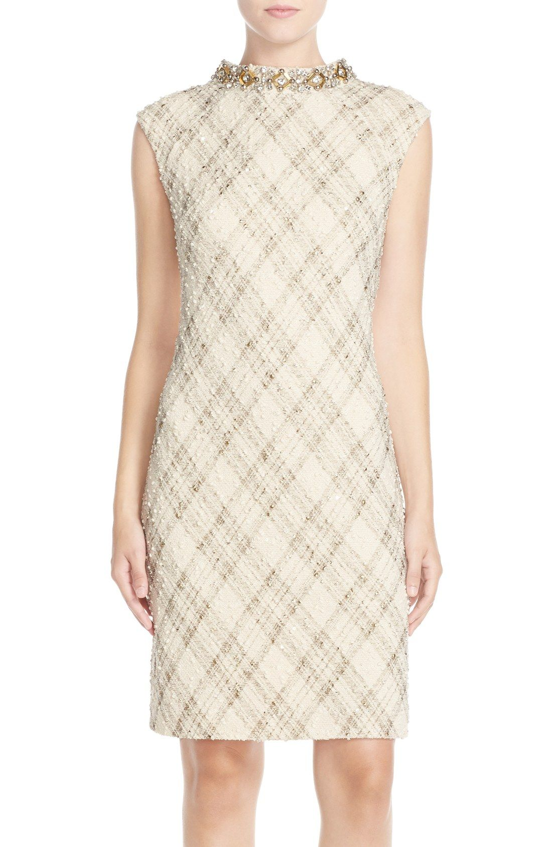 Shift dresses for wedding guests  Vince Camuto Embellished Foiled Bouclé Shift Dress Regular u Petite