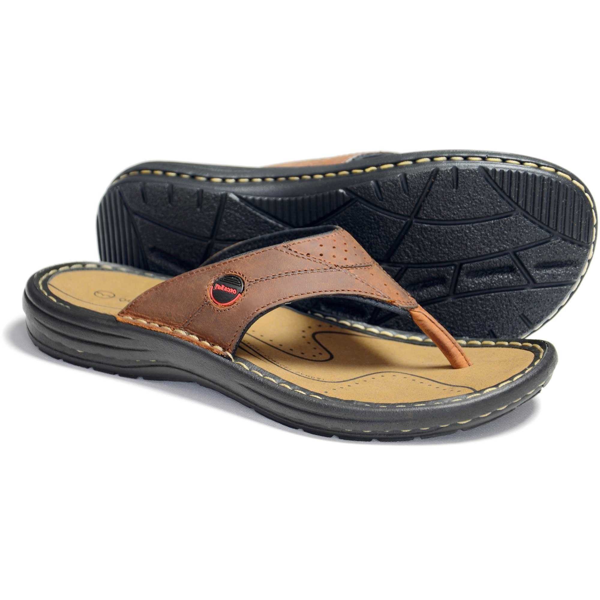 01fb83bebfce01 Mens Orca Bay Fiji Sandal flip flop- Brown Mens durable sports sandal soft  real leather foot bed Fashionable thong-style sandal Top seller Mens sizes  41 - ...
