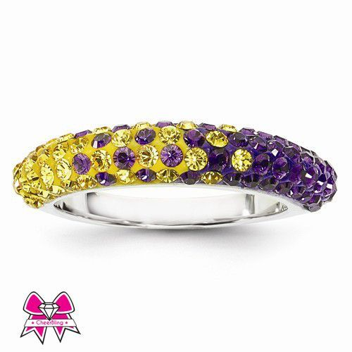 Purple & Gold Team Color Swarovski Crystal Thin Sterling Silver Ring
