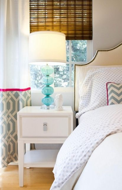 Crisp whites+turquoise lamp+pink and trellis patterned curtains...